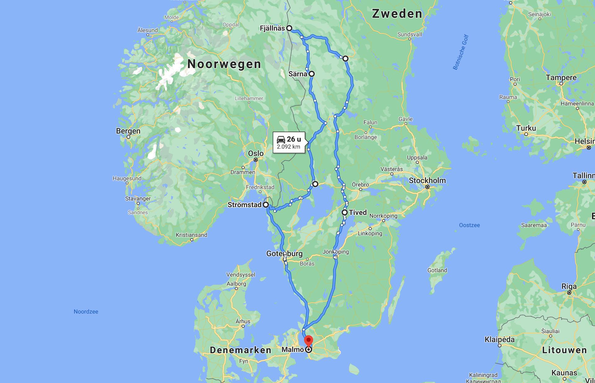 route rondreis zweden